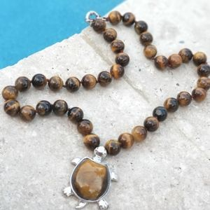 """Jewelry - Turtle Pendant Necklace Brown 18"""" 10mm Beads"""